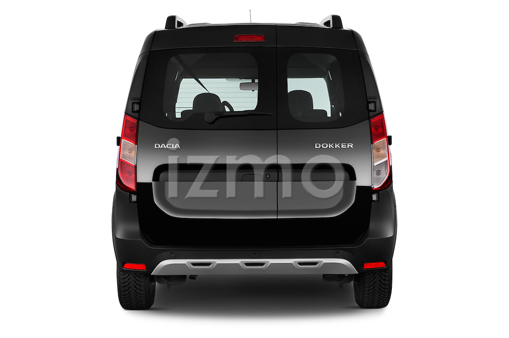 Straight rear view of a 2015 Dacia Dokker Stepway 5 Door Minimpv Rear View  stock images