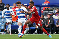 Middlesbrough's Chuba Akpom battles for possession with Queens Park Rangers player<br /> <br /> Photographer Stephanie Meek/CameraSport<br /> <br /> The EFL Sky Bet Championship - Queens Park Rangers v Middlesbrough - Saturday 26th September 2020 - Loftus Road - London <br /> <br /> World Copyright © 2020 CameraSport. All rights reserved. 43 Linden Ave. Countesthorpe. Leicester. England. LE8 5PG - Tel: +44 (0) 116 277 4147 - admin@camerasport.com - www.camerasport.com