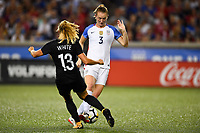 Cincinnati, OH - Tuesday September 19, 2017: Rosie White, Samantha Mewis during an International friendly match between the women's National teams of the United States (USA) and New Zealand (NZL) at Nippert Stadium.