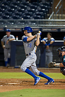 AZL Royals center fielder Isaiah Smith (15) follows through on his swing against the AZL Mariners on July 29, 2017 at Peoria Stadium in Peoria, Arizona. AZL Royals defeated the AZL Mariners 11-4. (Zachary Lucy/Four Seam Images)