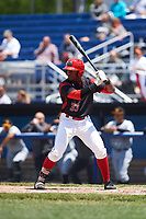 Batavia Muckdogs designated hitter Terry Bennett (33) at bat during a game against the West Virginia Black Bears on June 25, 2017 at Dwyer Stadium in Batavia, New York.  West Virginia defeated Batavia 6-4 in the completion of the game started on June 24th.  (Mike Janes/Four Seam Images)
