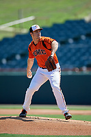 Bowie Baysox starting pitcher Cody Sedlock (59) during an Eastern League game against the Binghamton Rumble Ponies on August 21, 2019 at Prince George's Stadium in Bowie, Maryland.  Bowie defeated Binghamton 7-6 in ten innings.  (Mike Janes/Four Seam Images)