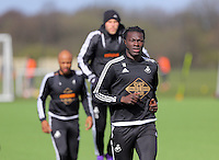 Bafetimbi Gomis (R) during the Swansea City FC training at Fairwood training ground in Wales, UK on Wednesday 06 April 2016