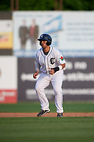 Connecticut Tigers designated hitter Gresuan Silverio (13) leads off second base during a game against the Lowell Spinners on August 26, 2018 at Dodd Stadium in Norwich, Connecticut.  Connecticut defeated Lowell 11-3.  (Mike Janes/Four Seam Images)