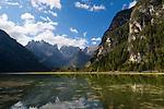 Italy, South Tyrol, Alto Adige, Dolomites, near Dobbiaco, Lago di Landro, Lake Landro, at Valle di Landro