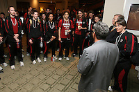 3 April 2008: (not in order) Head coach Tara VanDerveer, associate head coach Amy Tucker, assistant coach Kate Paye, assistant coach Bobbie Kelsey, Melanie Murphy, Jayne Appel, Michelle Harrison, JJ Hones, Candice Wiggins, Cissy Pierce, Kayla Pedersen, Hannah Donaghe, Rosalyn Gold-Onwude, Jeanette Pohlen, Ashley Cimino, Morgan Clyburn, and Jillian Harmon at the Westin Harbour Island Hotel during Stanford's travel day to the 2008 NCAA Division I Women's Basketball Final Four in Tampa Bay, FL.