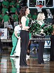 North Texas Mean Green dance team members perform during the NCAA  basketball game between the Arkansas State Red Wolves and the University of North Texas Mean Green at the North Texas Coliseum,the Super Pit, in Denton, Texas. UNT defeated Arkansas State 83 to 64..