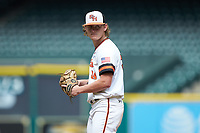 Sam Houston State Bearkats starting pitcher Riley Gossett (24) looks to his catcher for the sign against the Vanderbilt Commodores in game one of the 2018 Shriners Hospitals for Children College Classic at Minute Maid Park on March 2, 2018 in Houston, Texas. The Bearkats walked-off the Commodores 7-6 in 10 innings.   (Brian Westerholt/Four Seam Images)