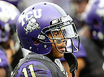 TCU Horned Frogs wide receiver Skye Dawson (11) in action during the game between the Iowa State Cyclones and the TCU Horned Frogs  at the Amon G. Carter Stadium in Fort Worth, Texas. Iowa State defeats TCU 37 to 23..