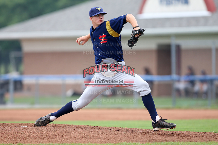 State College Spikes starting pitcher Tyler Waldron (55) delivers a pitch during a game vs. the Batavia Muckdogs at Dwyer Stadium in Batavia, New York June 27, 2010.   State College defeated Batavia 4-2.  Photo By Mike Janes/Four Seam Images