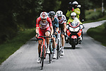 """The breakaway featuring Jelle Wallays (BEL) Cofidis, Cyril Barthe and Maxime Chevalier (FRA) B&B Hotels p/b KTM, Michael Schär (SUI) AG2R Citroen Team and Polka Dot Jersey Ide Schelling (NED) Bora-Hansgrohe 1'30"""" ahead during Stage 3 of the 2021 Tour de France, running 182.9km from Lorient to Pontivy, France. 28th June 2021.  <br /> Picture: A.S.O./Pauline Ballet 