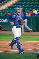 Ogden Raptors catcher Jake Henson (27) between innings against the Helena Brewers in Pioneer League action at Lindquist Field on August 19, 2015 in Ogden, Utah. Ogden defeated Helena 4-2.  (Stephen Smith/Four Seam Images)