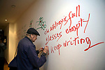 Jonas Mekas lithuanian director filmmaker in a opening of his exhibition in Brussels. Belgium.