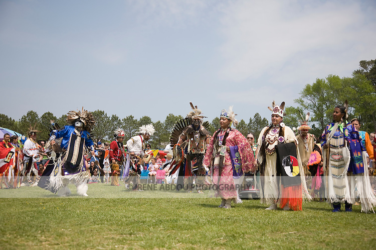 Native American dancers dress in full traditional regalia at the 8th Annual Red Wing PowWow in Red Wing Park, Virginia Beach, Virginia.