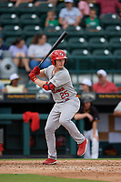 Palm Beach Cardinals Bryce Denton (25) at bat during a Florida State League game against the Bradenton Marauders on May 10, 2019 at LECOM Park in Bradenton, Florida.  Bradenton defeated Palm Beach 5-1.  (Mike Janes/Four Seam Images)