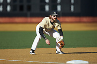 Wake Forest Demon Deacons third baseman Johnny Aiello (2) on defense against the Gardner-Webb Runnin' Bulldogs at David F. Couch Ballpark on February 18, 2018 in  Winston-Salem, North Carolina. The Demon Deacons defeated the Runnin' Bulldogs 8-4 in game one of a double-header.  (Brian Westerholt/Four Seam Images)