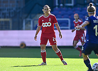 Vanity Lewerissa (21) of Standard  pictured during a female soccer game between RSC Anderlecht Dames and Standard Femina de Liege on the sixth matchday of the 2021 - 2022 season of Belgian Womens Super League , saturday 9 th of October 2021  in Brussels , Belgium . PHOTO SPORTPIX   DAVID CATRY
