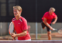 August 9, 2014, Netherlands, Rotterdam, TV Victoria, Tennis, National Junior Championships, NJK,  Final boys 16 years doubles: Siem Fenne(L) and Tom Moonen (NED)<br /> Photo: Tennisimages/Henk Koster