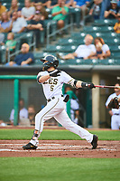 Michael Stefanic (5) of the Salt Lake Bees at bat against the Sacramento River Cats at Smith's Ballpark on August 16, 2021 in Salt Lake City, Utah. The Bees defeated the River Cats 6-0. (Stephen Smith/Four Seam Images)