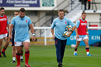 London Scottish head coach, Graham Steadman warms up the team during the Championship Cup match between London Scottish Football Club and Nottingham Rugby at Richmond Athletic Ground, Richmond, United Kingdom on 28 September 2019. Photo by Carlton Myrie / PRiME Media Images