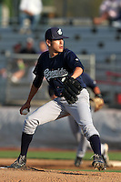 Eugene Emeralds pitcher Cody Hebner #2 pitches against the Salem-Keizer Valcanoes at Valcanoes Stadium on August 9, 2011 in Salem-Keizer,Oregon. Eugene defeated Salem-Keizer 13-7.(Larry Goren/Four Seam Images)