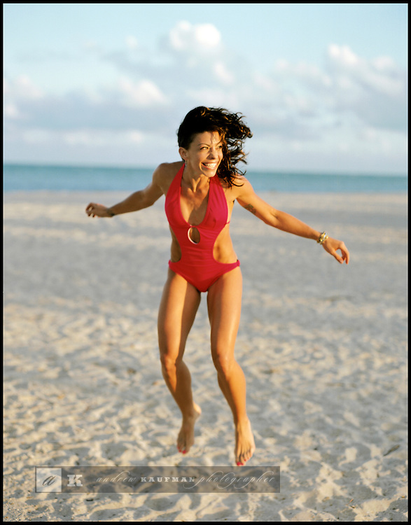 Kym Perfetto of Bed-Stuy Brooklyn is a certified personal trainer. She is at Crandon Park in Key Biscayne, Florida.