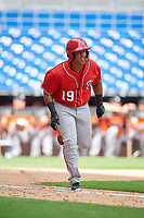 Washington Nationals Onix Vega (19) runs to first base during a Florida Instructional League game against the Miami Marlins on September 26, 2018 at the Marlins Park in Miami, Florida.  (Mike Janes/Four Seam Images)