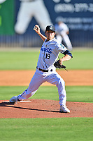 Asheville Tourists starting pitcher Danny Cody (19) delivers a pitch during a game against the Aberdeen IronBirds on June 16, 2021 at McCormick Field in Asheville, NC. (Tony Farlow/Four Seam Images)