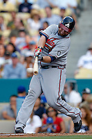 Brian McCann of the Atlanta Braves during a game from the 2007 season at Dodger Stadium in Los Angeles, California. (Larry Goren/Four Seam Images)