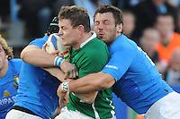 Brian O'Driscoll  (Irlanda)  Burton e Ghiraldini (Italia)<br /> Italia vs Irlanda 11-13<br /> Six Nations Rugby<br /> Stadio Flaminio, Roma, 05/02/2011<br /> Photo Antonietta Baldassarre Insidefoto