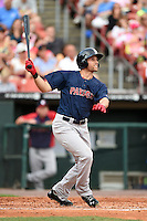Pawtucket Red Sox third baseman Garin Cecchini (3) at bat during a game against the Buffalo Bisons on August 26, 2014 at Coca-Cola Field in Buffalo, New  York.  Pawtucket defeated Buffalo 9-3.  (Mike Janes/Four Seam Images)