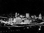 Pittsburgh PA:  View of the first Light Up Night in Pittsburgh.  Photograph was taken from Mount Washington overlooking the city.