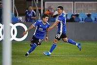 SAN JOSE, CA - MAY 1: Eduardo Lopez #9 of the San Jose Earthquakes celebrates scoring with Cristian Espinoza #10 before a game between D.C. United and San Jose Earthquakes at PayPal Park on May 1, 2021 in San Jose, California.