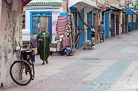 Essaouira, Morocco.  Sidi Mohammed ben Abdallah Street Scene, Early Morning.