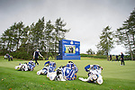 A generic view of the 6th green and the European bags during a practice session at Gleneagles Golf Course, Perthshire. Photo credit should read: Kenny Smith/Press Association Images.