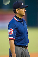 Umpire Takeshi Hirabayashi during a Southern League game between the Huntsville Stars and the Jacksonville Suns at the Baseball Grounds in Jacksonville, FL, Wednesday June 11, 2008.