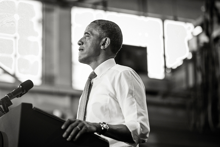 U.S. President Barack Obama speaks about jobs and the economy during a visit to Ellicott Dredges in Baltimore.  It was his second stop on a day long 'Middle Class Jobs and Opportunity Tour'.
