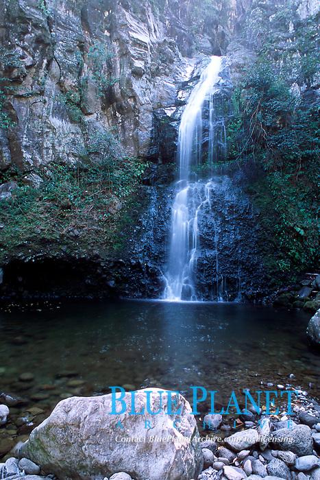 Pololu Valley waterfall, Big Island of Hawaii, Pacific Ocean