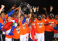 Players of the Puerto Rica Islanders with the championship shield during the second leg of the USSF-D2 championship match against theCarolina Railhawks at WakeMed Soccer Park, in Cary, North Carolina on October 30 2010.