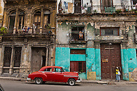 Old car and building.