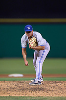 Dunedin Blue Jays pitcher Adrian Hernandez (43) during a game against the Clearwater Threshers on May 18, 2021 at BayCare Ballpark in Clearwater, Florida.  (Mike Janes/Four Seam Images)