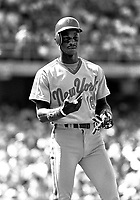 New York Mets outfielder Darryl Strawberry #18 during a game against the Los Angeles Dodgers at Dodger Stadium during the 1987 season in Los Angeles,California.(Larry Goren/Four Seam Images)