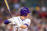 LSU Tigers second baseman Kramer Robertson (3) at bat during the NCAA baseball game against the Houston Cougars on March 6, 2015 at Minute Maid Park in Houston, Texas. LSU defeated Houston 4-2. (Andrew Woolley/Four Seam Images)