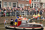 Sinterklass greets the crowd of families and children that have gathered to welcome him in Utrecht, the Netherlands.