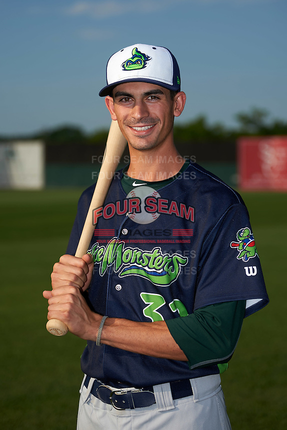 Vermont Lake Monsters right fielder Luke Persico (32) poses for a photo before a game against the Auburn Doubledays on July 12, 2016 at Falcon Park in Auburn, New York.  Auburn defeated Vermont 3-1.  (Mike Janes/Four Seam Images)