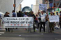 China protest in Lower Manhattan on the 20th anniversary of the September 11, 2001 terrorist attack on the World Trade Center and the Pentagon in New York, New York, on Saturday, September 11, 2021.<br /> CAP/MPI/RS<br /> ©RS/MPI/Capital Pictures
