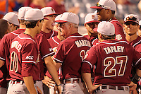"""Florida State Seminoles Mike Martin #11 talks with his team during a game vs. the Florida Gators in the """"Florida Four"""" at George M. Steinbrenner Field in Tampa, Florida;  March 1, 2011.  Florida State defeated Florida 5-3.  Photo By Mike Janes/Four Seam Images"""