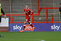 Max Watters of Crawley Town scores the first goal for his team and celebrates during Crawley Town vs Barrow, Sky Bet EFL League 2 Football at Broadfield Stadium on 12th December 2020