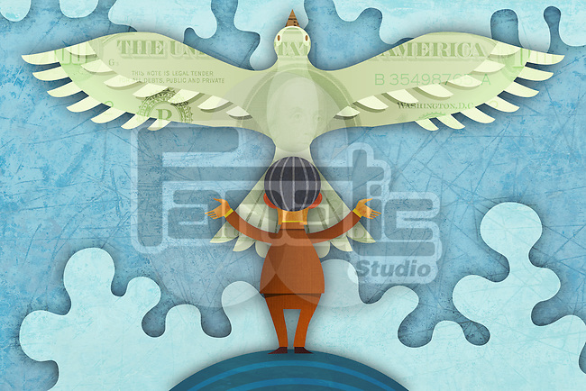 Illustrative image of businessman and bird with money impression representing hope
