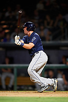 Mobile BayBears catcher Michael Barash (16) follows through on a swing delivers a base hit during a game against the Jacksonville Jumbo Shrimp on April 14, 2018 at Baseball Grounds of Jacksonville in Jacksonville, Florida.  Mobile defeated Jacksonville 13-3.  (Mike Janes/Four Seam Images)